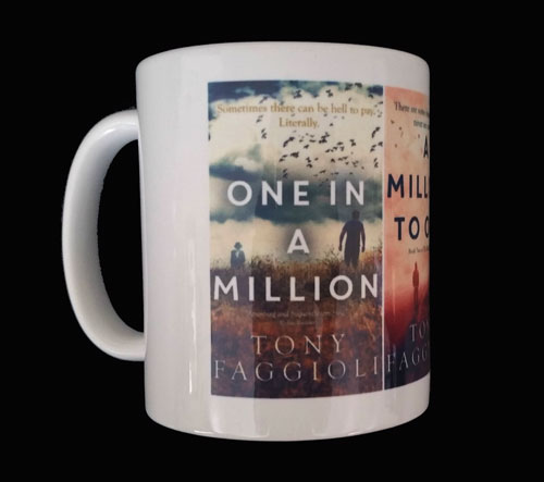 Shop Millionth Trilogy gear - One in a Million Mug – Author Tony Faggioli, TonyFaggioli.com